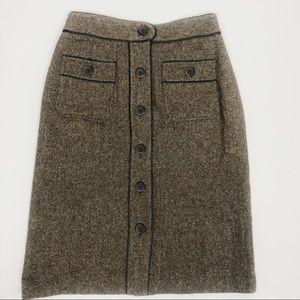 Talbots Stretch Brown Tweed Skirt Sz 4